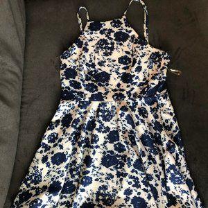 LuLu's Short Royal Blue Floral Fit & Flare Dress